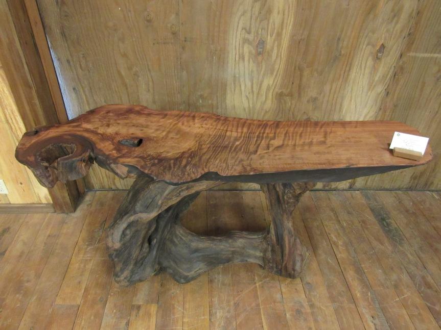 Redwood side table, Redwood Burl slab, curly grain
