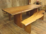 "Curly Grain, Redwood Table & Benches. Table: 33""W x 85""L x 30""H/ Book-Matched Benches: 17""W x 72""L x 19.5."" $6,995."